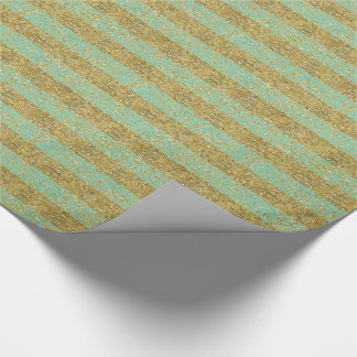 Mint and Gold Faux Glitter Stripes Wrapping Paper