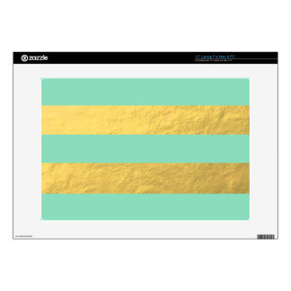 "Mint and Gold Foil Stripes Printed 15"" Laptop Skin"