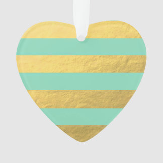 Mint and Gold Foil Stripes Printed
