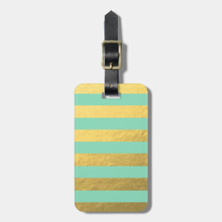 Mint and Gold Foil Stripes Printed Bag Tag