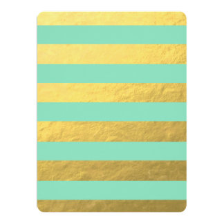 Mint and Gold Foil Stripes Printed Card