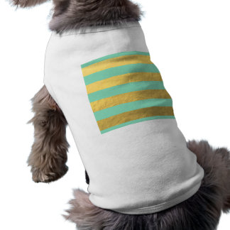 Mint and Gold Foil Stripes Printed Doggie Tshirt