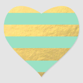Mint and Gold Foil Stripes Printed Heart Sticker