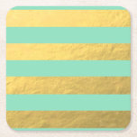 """Mint and Gold Foil Stripes Printed Square Paper Coaster<br><div class=""""desc"""">Printed Metallic Gold Foil and Solid Color Mint Striped Pattern - printed photo effect foil background - elegant bold glitz and glamor - with gold and mint green color tones - shiny glow effect - modern wide stripes pattern design - template background to make your own. GraphicsByMimi &#169;. Use to...</div>"""