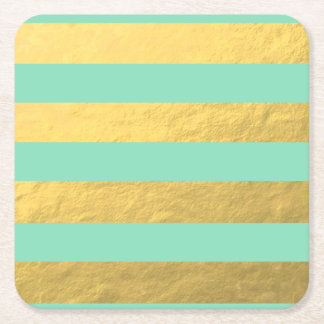 Mint and Gold Foil Stripes Printed Square Paper Coaster