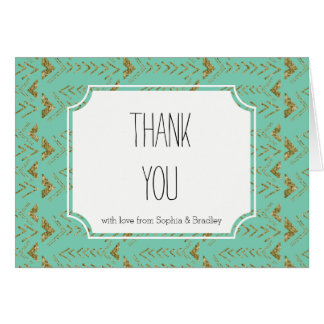 Mint and Gold Glam Arrows Thank you Card
