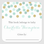 """Mint and Gold Glitter Baby Bookplate Sticker Label<br><div class=""""desc"""">Use our mint and gold glitter polka dot bookplate stickers to help you remember who gave each book to baby&#39;s first library. Please note that the glitter is a high-quality graphic that will be part of what is printed and is made to mimic real glitter. No real glitter is included....</div>"""