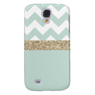 Mint and Gold Glitter Chevron Samsung Galaxy S4 Galaxy S4 Cases