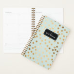 "Mint and Gold Glitter Dots Year and Name Planner<br><div class=""desc"">Start your year off on the right foot with this personalized and chic week and month planner featuring a pattern of faux gold glitter dots on a pale minty aqua background. Don&#39;t forget to customize the front with the year and name of your choice!</div>"