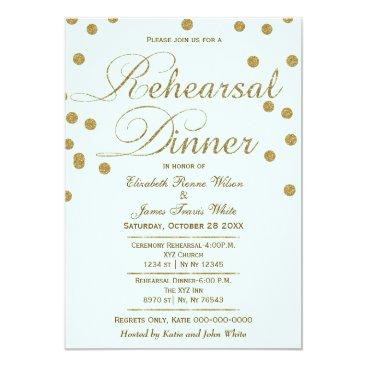 mint and gold glitter rehearsal dinner invites