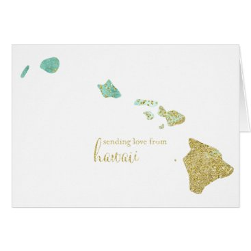 USA Themed Mint and Gold Glitter Sending Love From Hawaii Card
