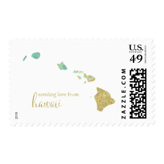 Mint and Gold Glitter Sending Love From Hawaii Postage