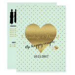Mint And Gold Heart Elegant Wedding Program Card