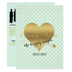 Mint And Gold Heart Elegant Wedding Program Card at Zazzle