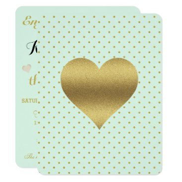 McTiffany Tiffany Aqua Mint And Gold Heart Polka Dot Party Invitation