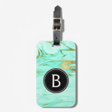 Professional Business Mint and Gold Marble Monogram Luggage Bag Tag