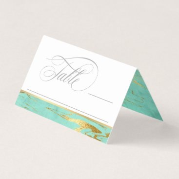 Beach Themed Mint and Gold Marble Pattern Wedding Place Card