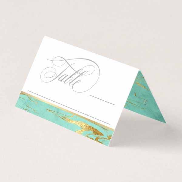 Mint and Gold Marble Pattern Wedding Place Card