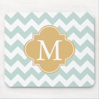 Mint and Gold Modern Chevron Custom Monogram Mouse Pad