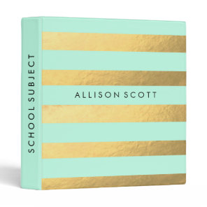 Mint And Gold Personalized Binder
