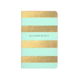 Mint And Gold Personalized Journal