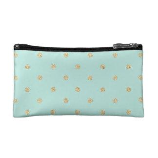 Mint and Gold Polka Dot Makeup Bag