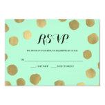 Mint and Gold Polka Dot Wedding RSVP card