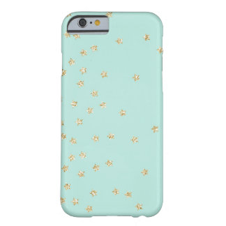 Mint and Gold Stars Pattern Barely There iPhone 6 Case