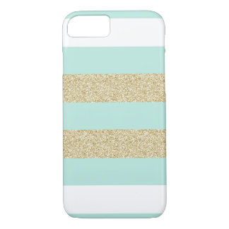 Mint and Gold Stripe Pattern iPhone 7 Case