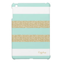 Mint and Gold Stripe Pattern with Monogram Case For The iPad Mini