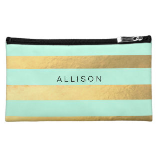 Mint And Gold Stripe Personalized Cosmetic Bag at Zazzle