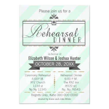 mint and gold vintage rehearsal dinner invites