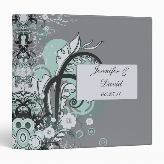 Mint and Gray Abstract Binder