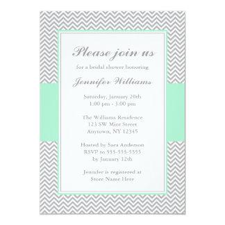 Mint and Gray Chevron Bridal Shower Custom Invitation
