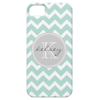 Mint and Gray Chevron Custom Monogram iPhone SE/5/5s Case