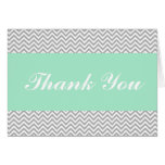 Mint and Gray Chevron Thank You Card