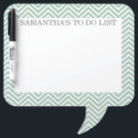 """Mint and Gray Chevrons with Custom Name Dry-Erase Board<br><div class=""""desc"""">A modern and simple design with an area to add some custom text.</div>"""