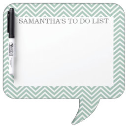Mint and Gray Chevrons with Custom Name Dry-Erase Board