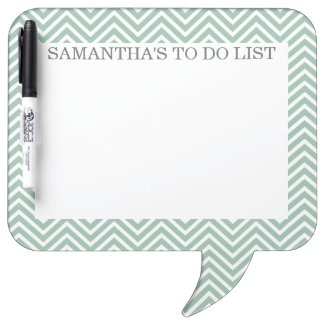 Mint and Gray Chevrons with Custom Name Dry Erase Boards