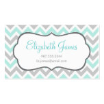 Mint and Gray Colorful Chevron Stripes Double-Sided Standard Business Cards (Pack Of 100)