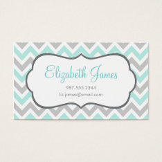 Mint And Gray Colorful Chevron Stripes Business Card at Zazzle
