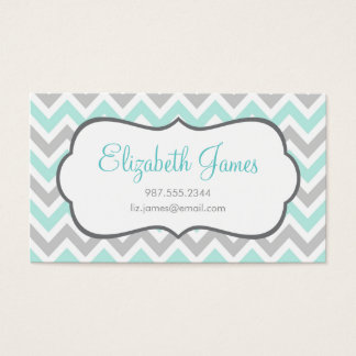 Mint and Gray Colorful Chevron Stripes Business Card