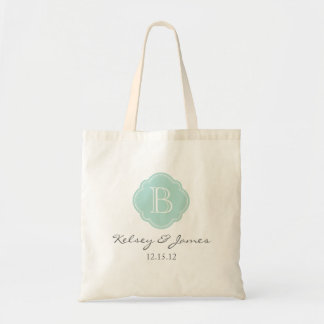 Mint and Gray Custom Monogram Wedding Favor Tote