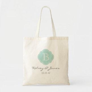Mint and Gray Custom Monogram Wedding Favor Tote Bag