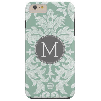 Mint and Gray Damask Pattern Custom Monogram Tough iPhone 6 Plus Case