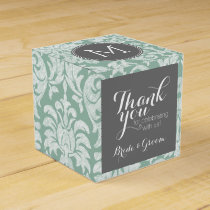 Mint and Gray Damask Pattern Custom Monogram Favor Box
