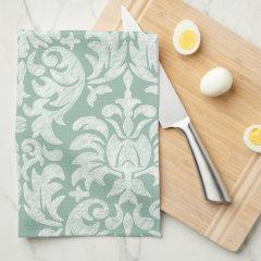 Mint and Gray Damask Pattern Custom Monogram Kitchen Towel