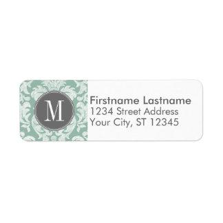 Mint and Gray Damask Pattern Custom Monogram Return Address Label