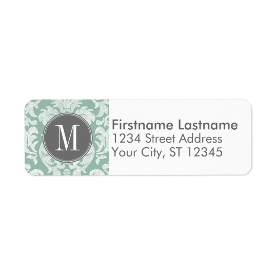 Mint and Gray Damask Pattern Custom Monogram Label