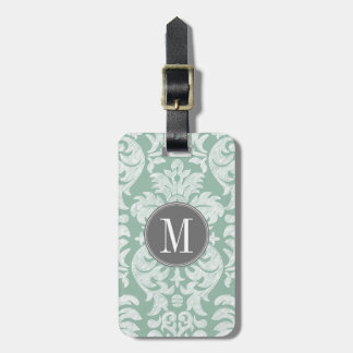 Mint and Gray Damask Pattern Custom Monogram Luggage Tag